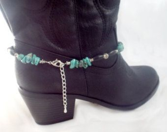 Boot armband, Turquoise stenen, bot kralen, sterling kralen, boot bling, schoen sieraden, boot accessoire, boot enkelbandje, boot charme turquoise