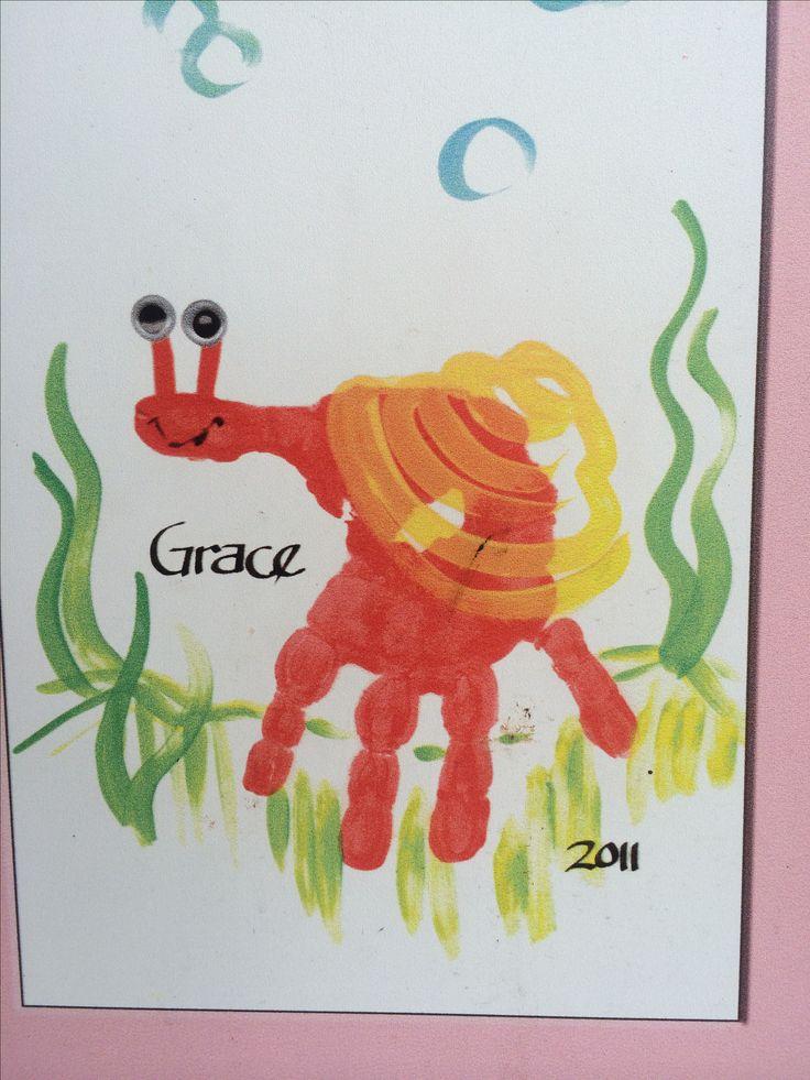 kids handprint idea: Handprint snail craft for kids #preschool #kidscraft #snail…