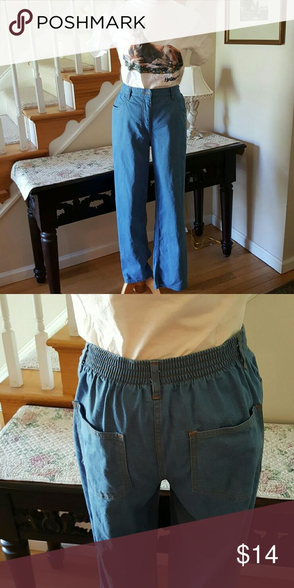 Denim Grandma pants These are your grandmother's jeans.  The size tag has been cut out, but fits like a 6. Features a relaxed fit with slight taper. Beautiful elastic high waist. Jeans