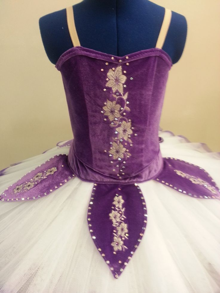 Purple velour classical tutu with silver floral embroidery.