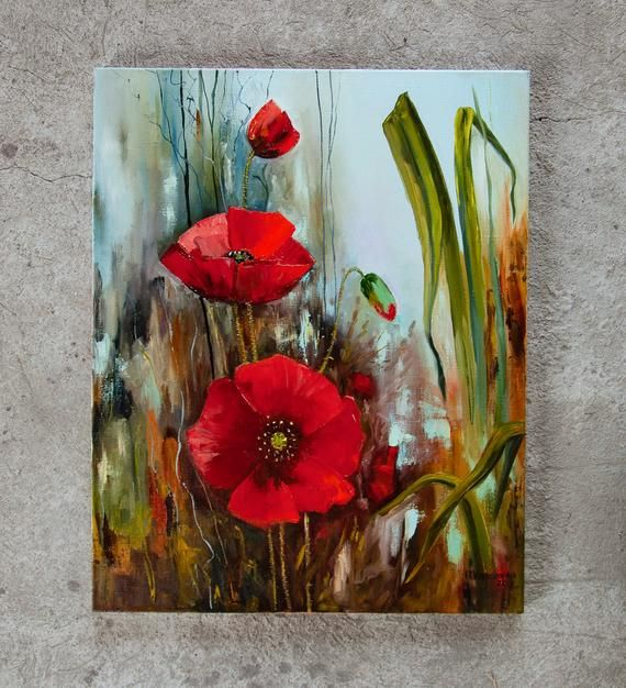 Flowers Oil painting Large Red Poppies Original Painting Wildflowers Landscape Green Field Meadow Bright Greens Floral Art On Canvas 20″x16″