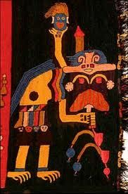 textile from Peru, South America, Paracas culture 750 B.C. to A.D. 100.