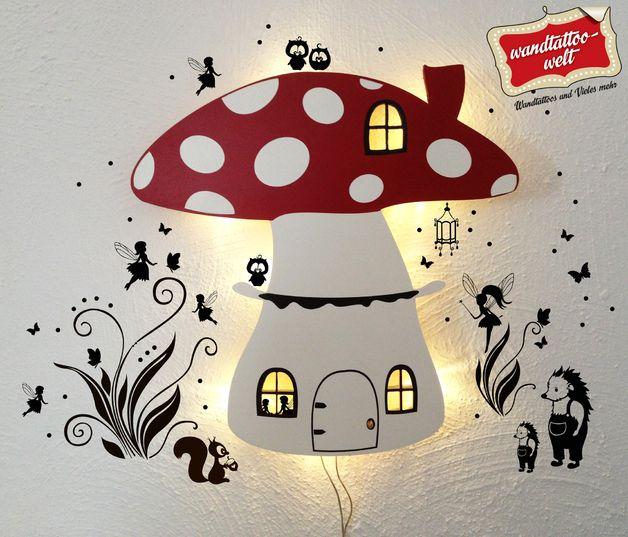 Schlummerlampen - Wandlampe Kinderlampe Lampe Fliegenpilz Feen M879 - ein Designerstück von IlkaParey bei DaWanda
