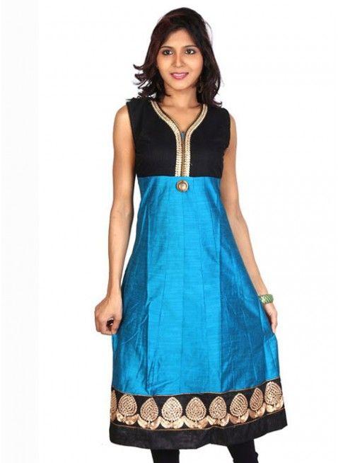 Charming Azure Blue & Black Ready Made #Kurti