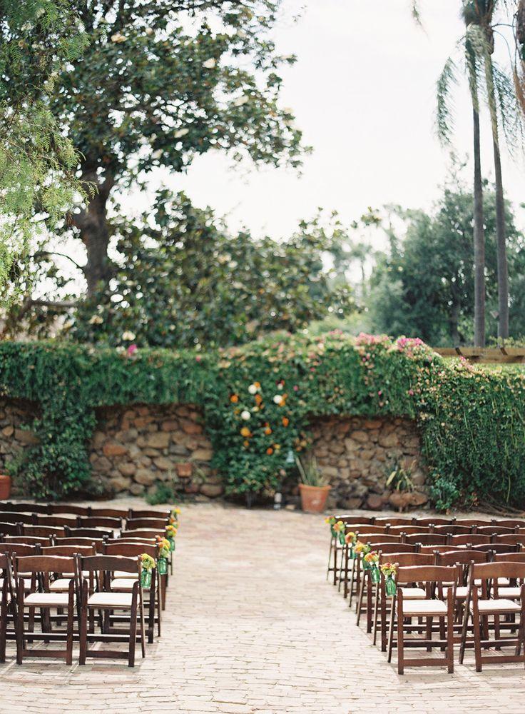 Fall San Diego ceremony at Rancho Buena Vista Adobe.  Flowerchild San Diego.  Read more - http://www.stylemepretty.com/2014/01/21/fall-san-diego-wedding-at-rancho-buena-vista-adobe/