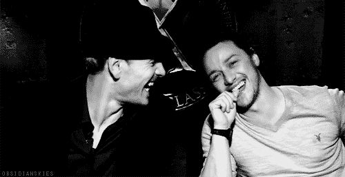 James McAvoy and Michael Fassbender. It makes my heart happy to see that Emily and I aren't the only people that can be this happy together and not be confused for being gay;)) and that fucking smile from James makes my panties need to be changed!