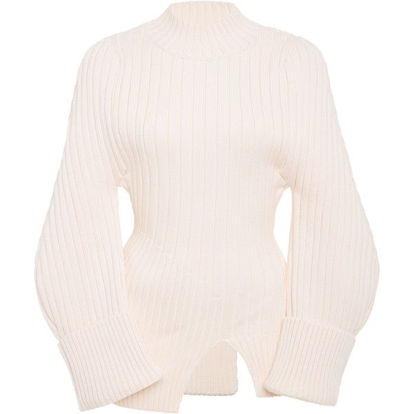 Jacquemus Wide-Sleeve Knit Sweater ($490) ❤ liked on Polyvore featuring tops, sweaters, white, knit sweater, sleeve sweater, white high neck top, white knit sweater and knit top