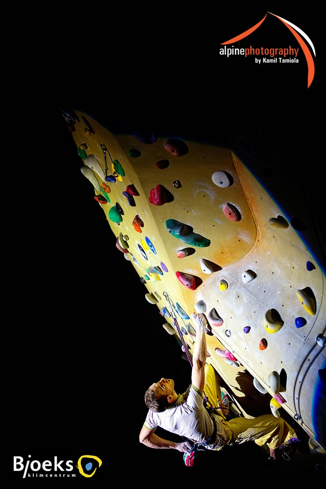 A photograph of the winner of the annual Dutch indoors competition, held in Bjoeks Climbing Center in Groningen, the Netherlands.