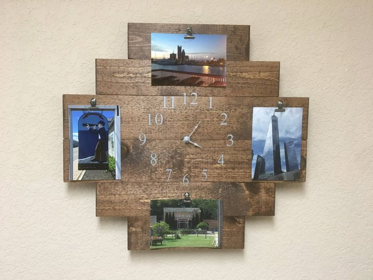 Rustic clock, vintage clock, southwestern clock, picture memory board, picture collage, memory board, farmhouse decor, photo memory board by CraftedSimplyInc on Etsy