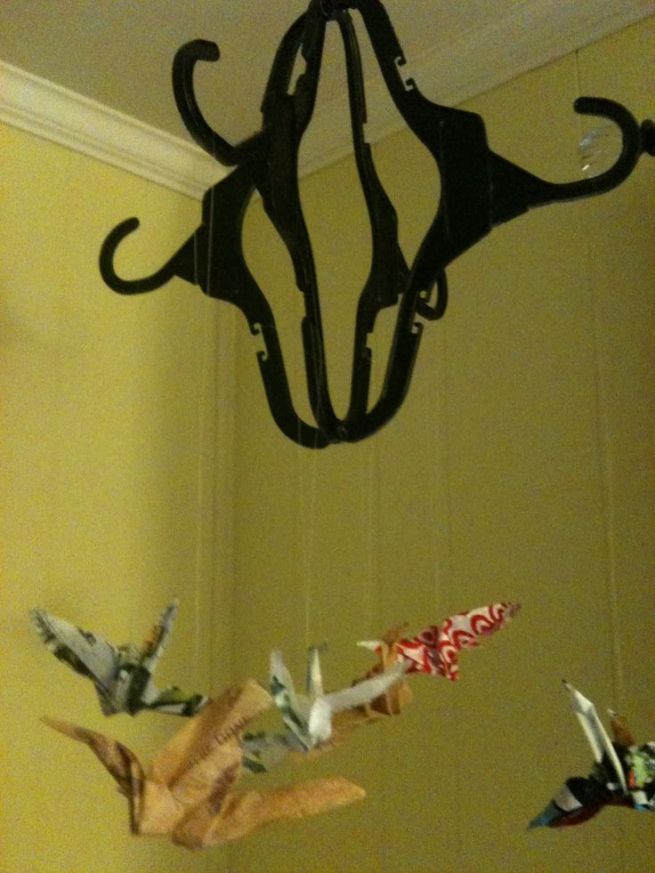 A Childhood List: 32) Plastic Hanger Mobile (With Fused Plastic Cranes)