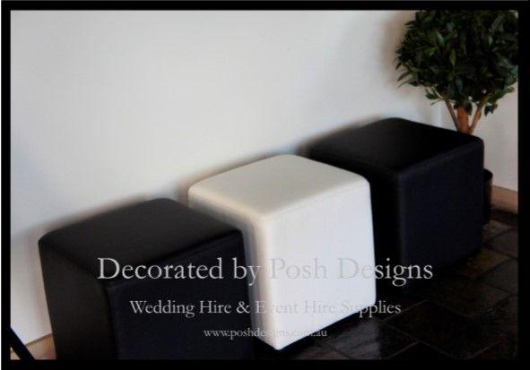 Black and white ottomans - all for hire for your wedding or function. Australia wide. Visit www.poshdesigns.com.au for more photos and info, or email lisa@poshdesigns.com.au for pricing packages.