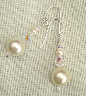 Perfect Pearl and Crystal Earrings by Gladrags Jewellery
