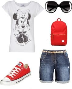 I now own an outfit similar to this (minus the backpack) for my trip to Disney next month. I got a very similar Minnie Mouse shirt from Sears, similar Bermuda shorts and sunglasses from target, and the exact same converse's from Journeys.