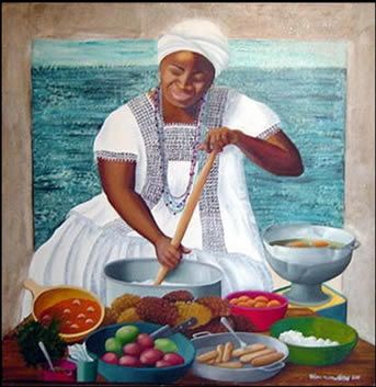 Prainting of a Brazilian Tia preparing acaraje or simply, for a feast
