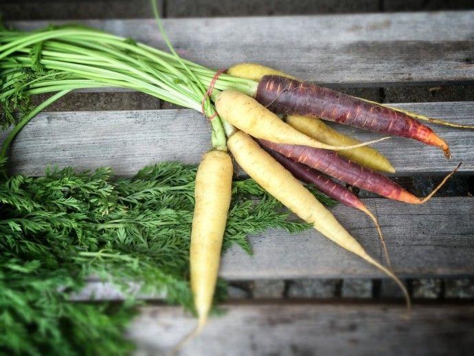 3x Rüben und das auch noch pegan! - Rote und weiße Karotten auf dem Markt.