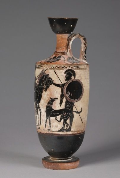 Black-Figured Lekythos, c. 500 BC  Greece, late 6th century BC  black-figure terracotta, Overall - h:32.40 cm (h:12 3/4 inches). The Cha...
