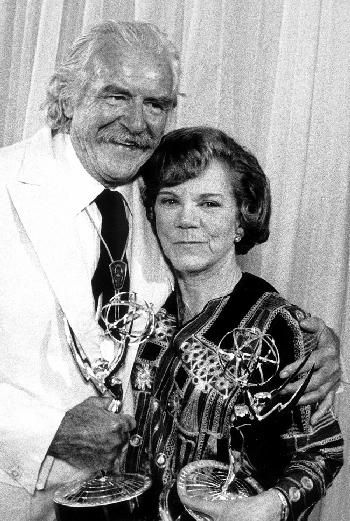Ellen corby & Will Geer with their Emmys for The Waltons