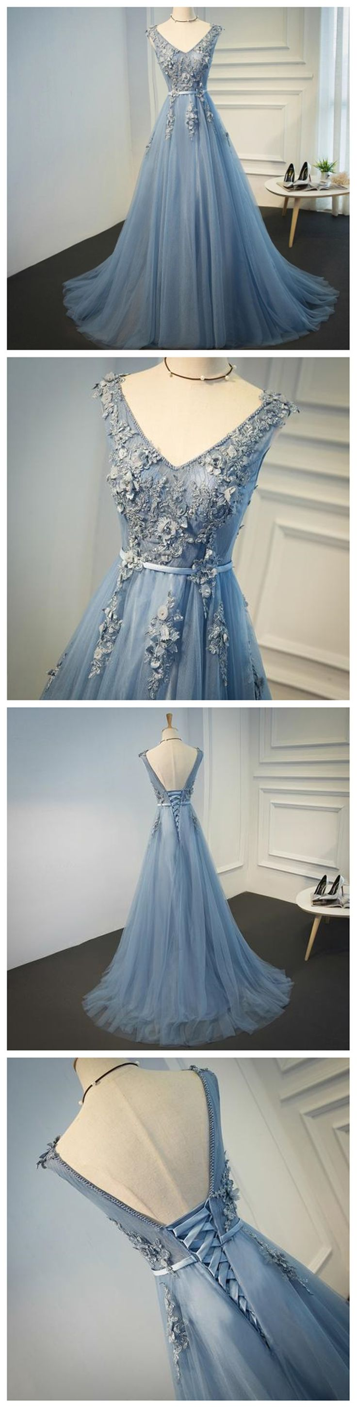 Sexy Backless Dusty Blue V Neckline Lace Beaded Evening Prom Dresses, Cheap Long Party Prom Dresses, Custom 2018 Affordable Prom Dresses, 18057
