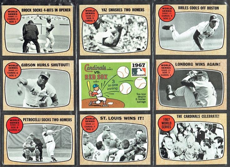 1968 TOPPS ST. LOUIS CARDINALS v. BOSTON RED SOX CARDS EX+ COND. BROCK, GIBSON #1968TOPPSBASEBALLCARDS #STLOUISCARDINALS