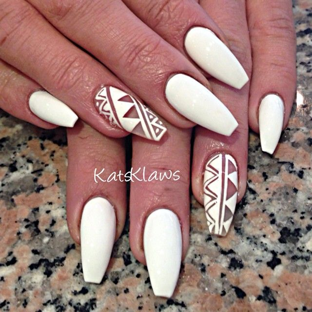 Matte white Coffin nails with negative space design