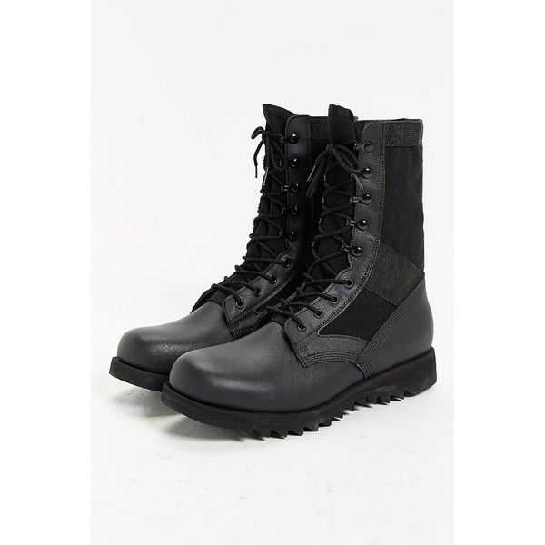Rothco Leather Ripple Sole Jungle Boot ($60) ❤ liked on Polyvore featuring men's fashion, men's shoes, men's boots, mens leather shoes, mens military boots, mens black leather boots, mens leather military boots and mens black combat boots