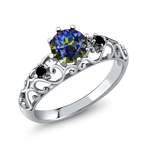Sterling Silver Round Blue Mystic Topaz & Black Diamond Women's Ring (1.11 cttw, Available in size 5, 6, 7, 8, 9)	by Gem Stone King