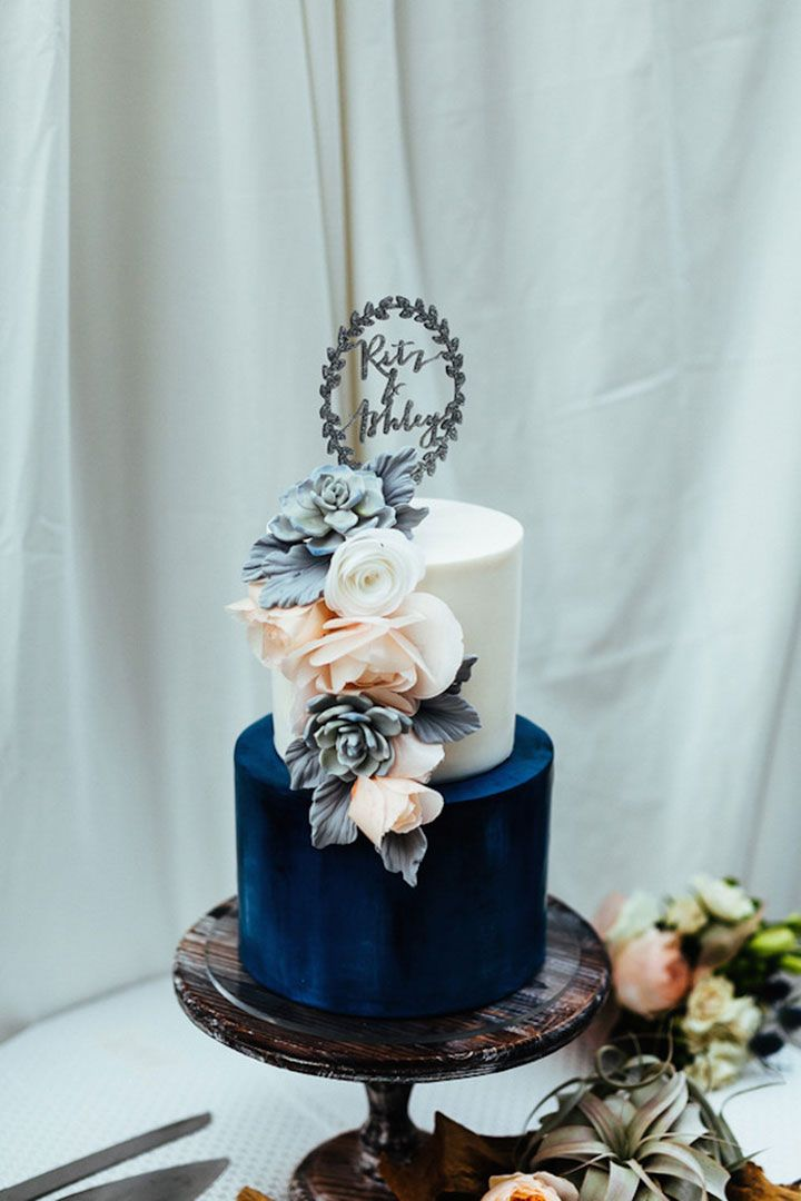 Wedding cake by Hey There, Cupcake! Custom Saying Wreath Glitter Acrylic cake topper ~ we ❤ this! moncheribridals.com