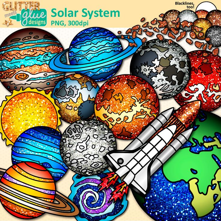 Download Solar System clipart set for personal and commercial use. Illustrations of planets, Earth, asteroids, moon, space shuttle, Milky Way, exoplanets.