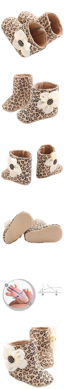 LIVEBOX Baby Premium Soft Sole Bow Anti-Slip Mid Calf Warm Winter Infant Prewalker Toddler Snow Boots (L: 12~18 months, Leopard Flower)