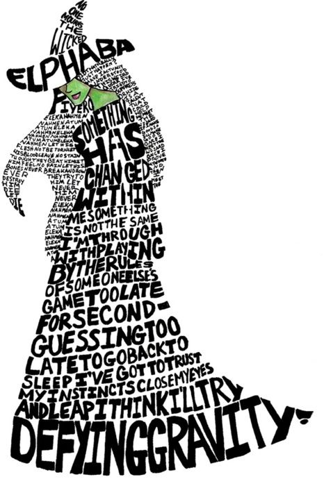 Wicked. Just had to repin this ... What a good idea to turn the iconic lyrics into the most fabulous character of the west end! I want to go back now :-(