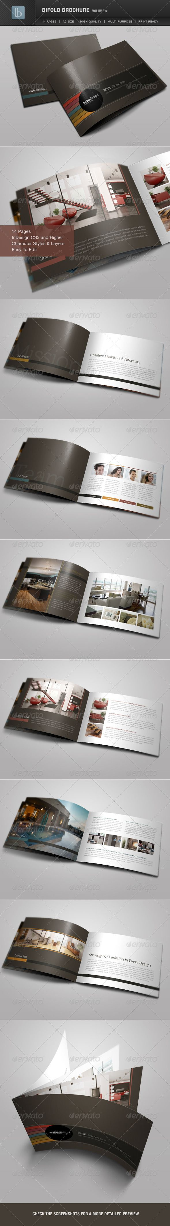 Bifold Brochure | Volume 5  #GraphicRiver                             Bifold Brochure | Volume 5 This beautifully designed brochure is extremely versatile and can be used for many purposes: portfolio book, corporate brochure, annual reports, case studies, sales catalog, etc. Clean and modern design created with InDesign. This 14 page brochure is standard A5 size, and is compatible all the way back to InDesign CS3 .