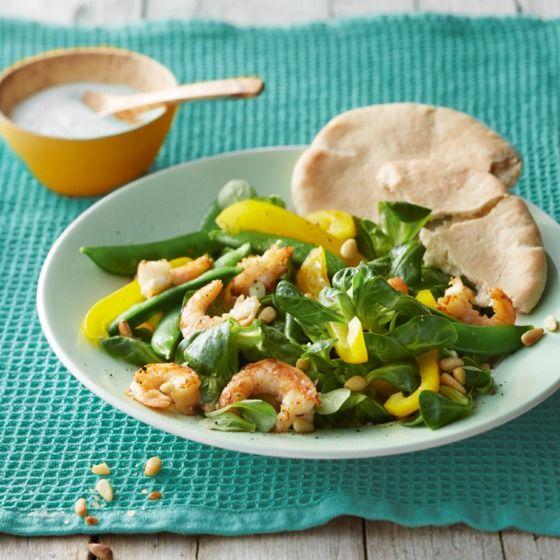 Prima als maatlijd voor 4!  Lauwwarme salade met garnalen Productfoto ID Shot 560x560