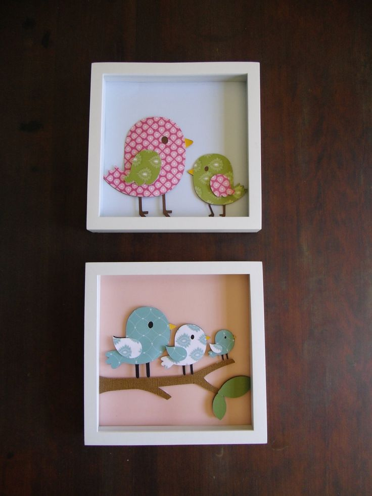 Wall Art, Nursery Art, Girls room art, Kids room art, kids wall art, baby nursery, kids decor, girls decor, Set of 2, Birds, Blue, Pink. $30.00, via Etsy.