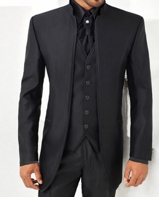 You will become such a outstanding man with  brand new groom tuxedos mandarin lapel best man suit black strips groomsman men's wedding/prom suits (jacket+pants+tie+vest)a662 offered by weddingworld168. Besides, DHgate.com also provide cheap mens suits formal suits and formal suits for men.