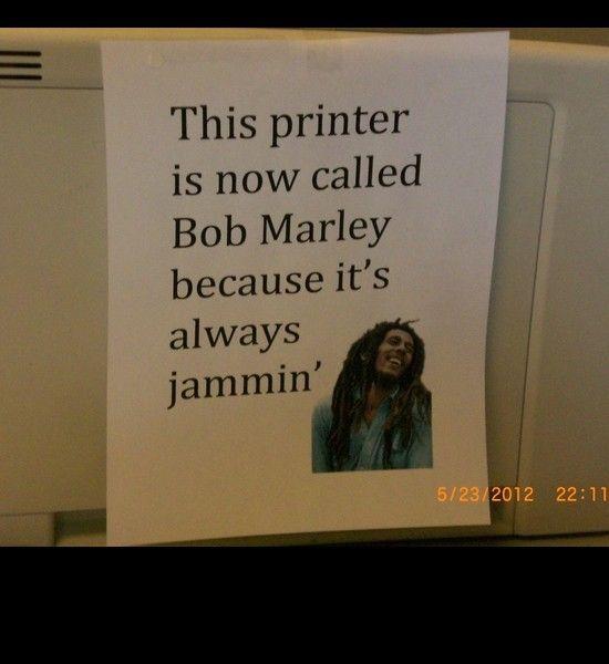 bob marley printer jammin pun, funny puns