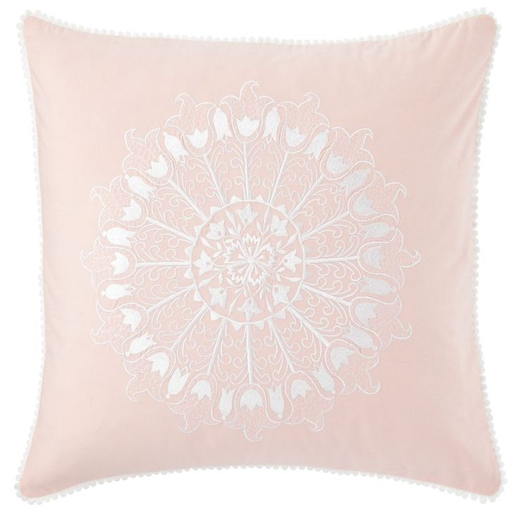 Shop Kids Pillows: Pink Floral Throw Pillow.  Vintage-inspired Floral Throw Pillow is beautifully embroidered and coordinates with our Antique Chic Bedding.