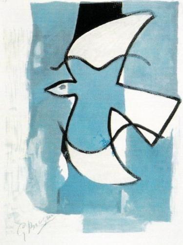L'oiseaux bleu et gris - Georges Braque www.easyart.com