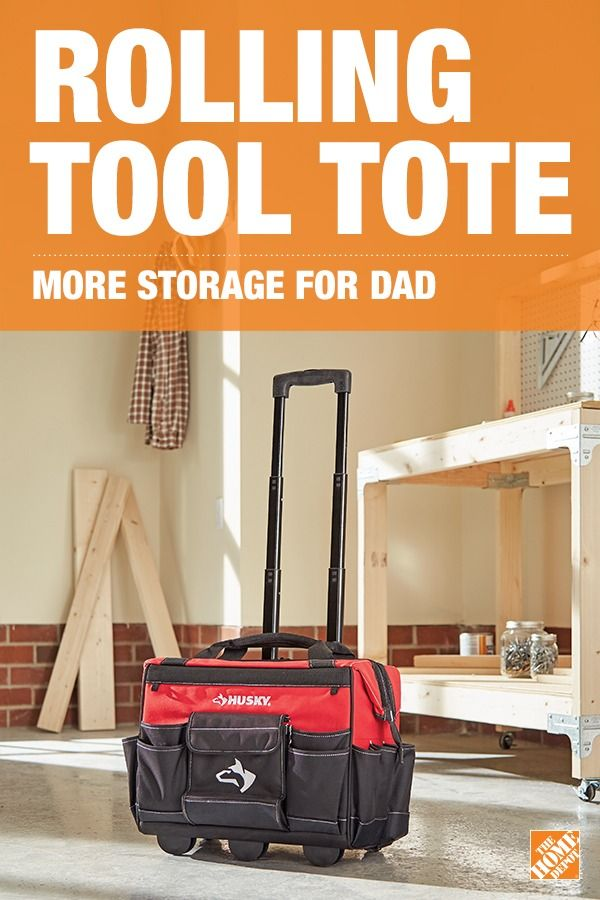 Husky's Rolling Tool Tote with heavy-duty handle, rolling wheels, and large main compartment makes it both durable and convenient for Dad. Its innovative skid plates that protect the telescoping handle make it a tool Dad can rely on day after day.