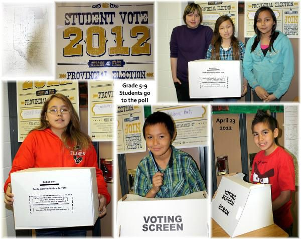 A collage of pictures from Student Vote at LeGoff School!