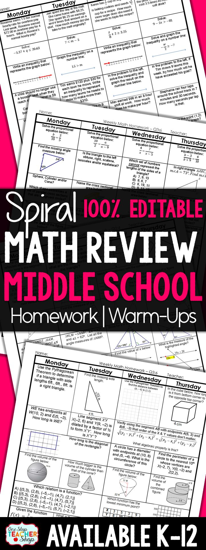 100% Editable Spiral Math Review for Middle School. This daily spiral review resource can be used for math homework, math warm ups, or even math centers. It is 100% Editable and covers the entire year of sixth, seventh, or eighth grade math. Includes answer keys!