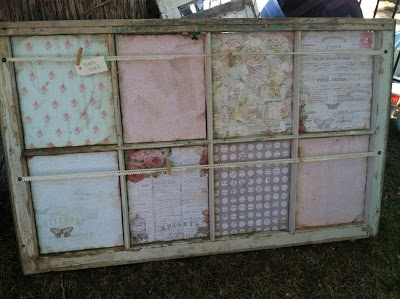 altered window with line for clothes pins - memory board - so cute! As seen at the flea market