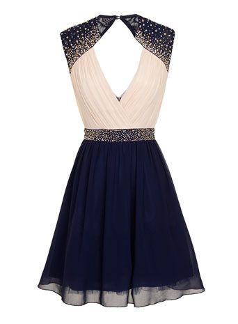 Robe fantaisie crème et bleu marine - Robes - Vêtements