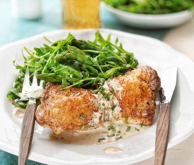 Recept: Kyckling med dragonsås och sparris