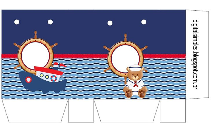Kit Personalizado Ursinho Marinheiro para Imprimir - Convites Digitais Simples