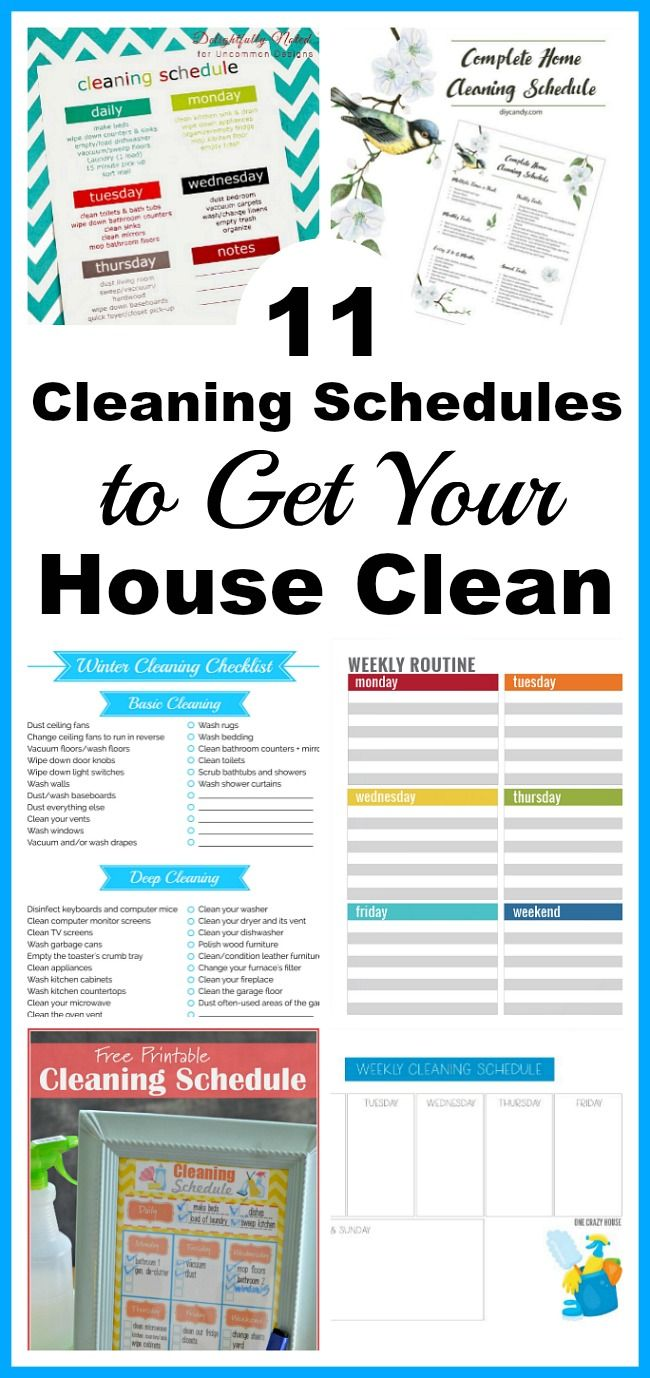 11 Cleaning Schedules to Get Your House Clean- Everyone likes a clean home, but not everyone enjoys cleaning. To make keeping your home neat and tidy easier, try some of these cleaning schedules! #cleaning #printable #homemaking #cleanhome