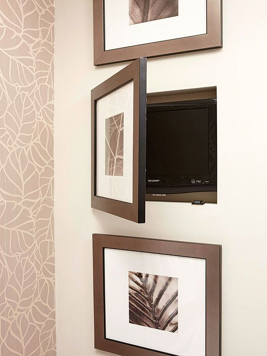 Nifty Niches - Niches carved out between wall studs provide the prefect spot to conceal bathroom items of all shapes and sizes. Here, a trio of cutouts house luxury items, such as a small television (shown).