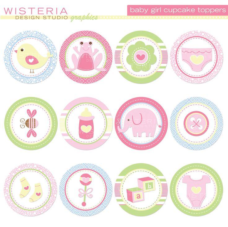 DESCARGAR bebé niña Cupcake Toppers por WisteriaDesignStudio