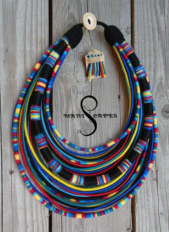 Maasai Queen blue yarn-wrapped necklace / tribal / hippie /
