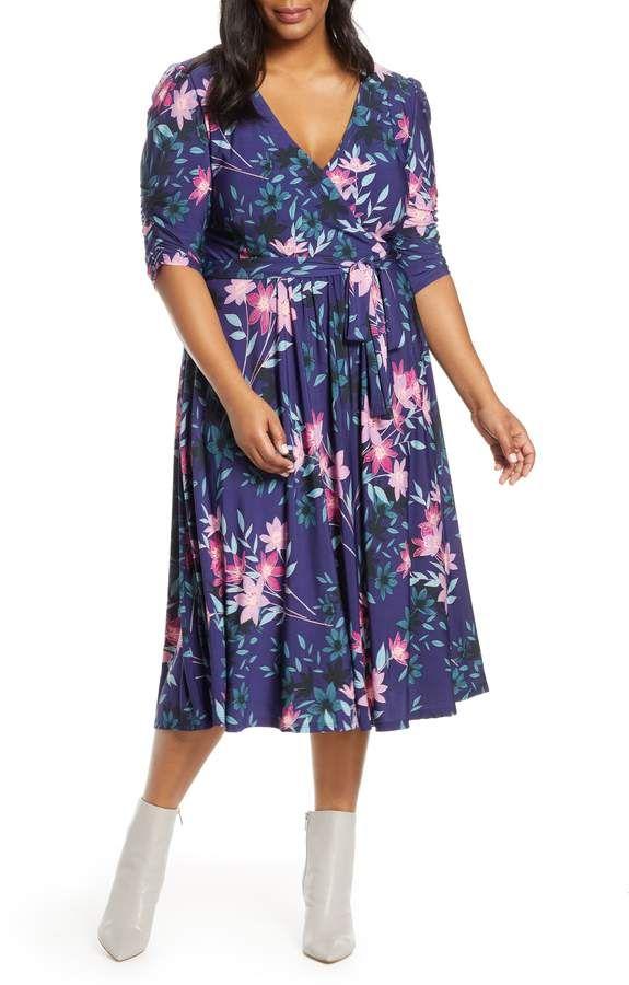 Plus Size Women's Eliza J Faux Wrap Midi Dress, Size 16W – Blue