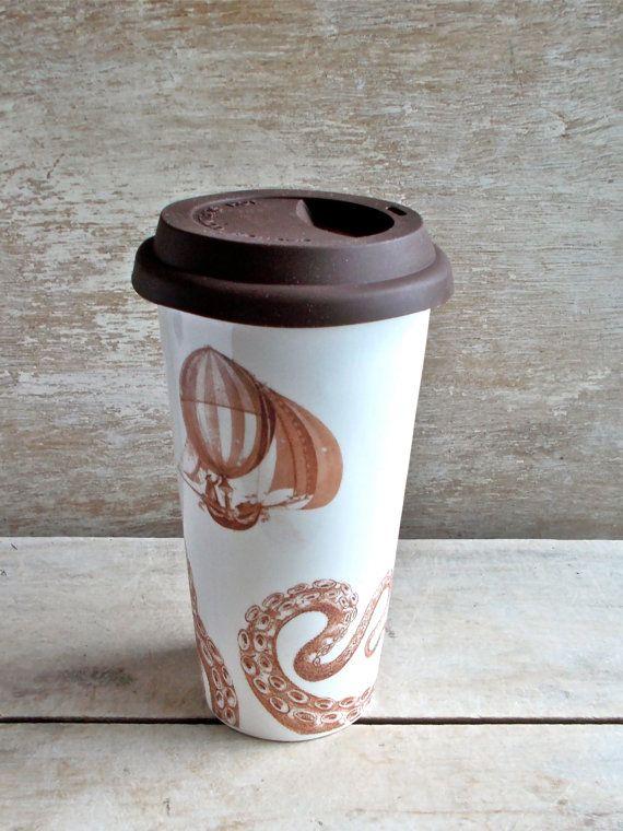 Große Steampunk Luft Schiff Octopus Travel Mug, Kopffüsser isoliert Takeaway Cup, Ozean, Dampf reisen, Eco, Green, 16 oz, große Kaffeetasse